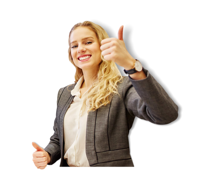young woman giving a thumbsup